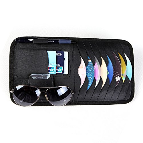 Car Sun Visor Sunshade CD DVD VCD Disc Sleeve Wallet PU Leather Storage Case Holder with Glasses and Cards Organizer Clips Black Color (Case Visor Cd)