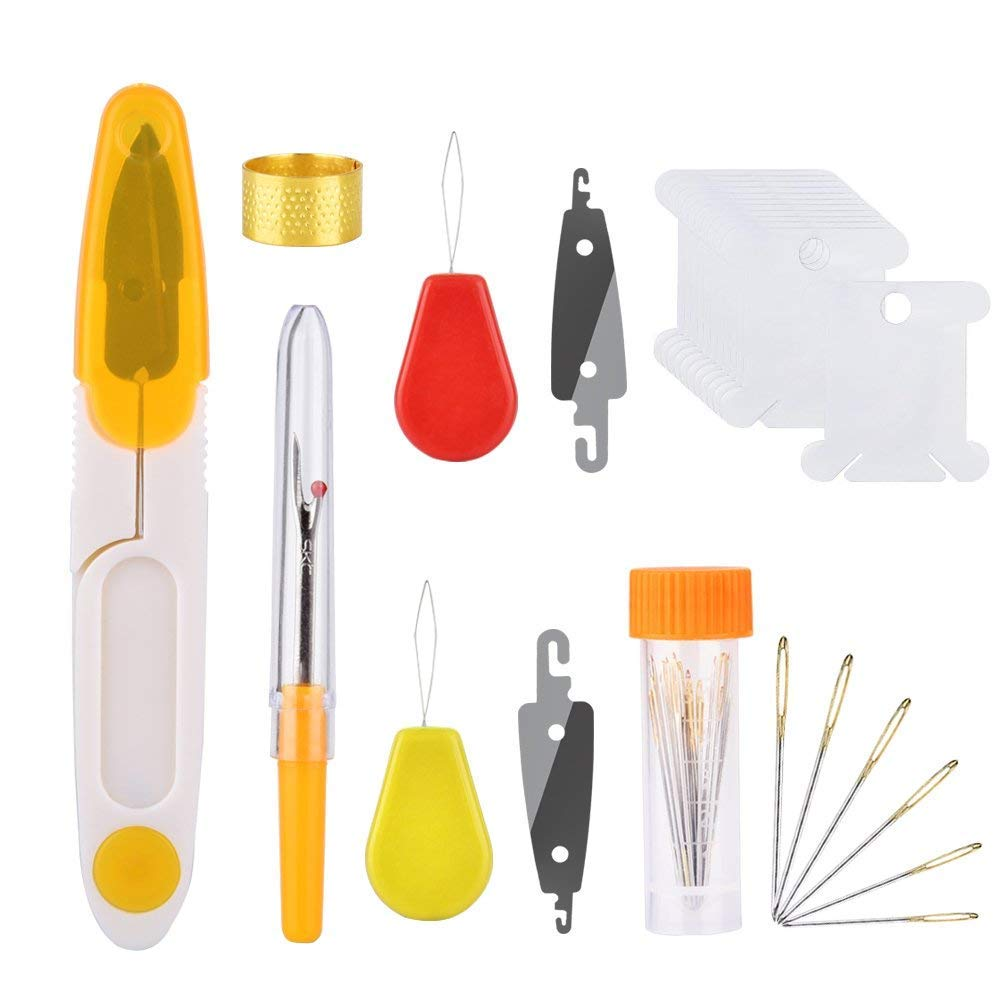 Embroidery Set HailiCare Magic Embroidery Set Embroidery Stitching Pen Punch Needles Craft Tool Set Combination Including 50 Color Threads and Storage Box for DIY Sewing Cross Stitching