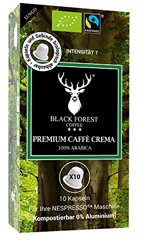 100% Kompostierbare, recyclebare, kompatible Bio Kapseln 60 Stück. Black Forest Premium Caffè Crema. Kompatibfür Nespresso* Maschinen. 0% Aluminium-Fair Trade