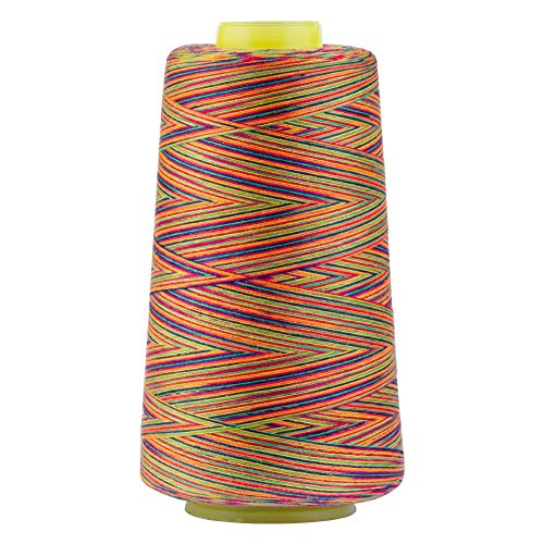 Rainbow Polyester Sewing Thread Variegated Used for Quilting Serger Overlock Embroidery All Purpose Connecting Threads for Sewing Machine and Hand Repair Works 3000 Yards Over The -