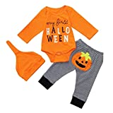 for 0-1 Years Baby Girls,Fashion Newborn Baby Girls Boys Letter Pumpkin Romper Jumpsuit+Stripe Long Pants Set Clothes Halloween Outfits Set Tracksuit Autumn Clothes (9-12 Months, Orange)