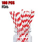 Red Paper Straws Biodegradable Disposable Party Decoration and Party Drinking Straws 100 Count for Wedding, Birthday Party or any Themed Party (White&Red-100)