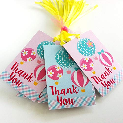 Hot Air Balloon Thank You Favor Tags - Girl Birthday Baby Shower Party Gift Tags - Set of 24 -