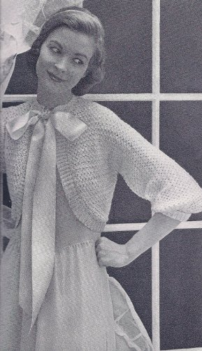 Vintage Crochet PATTERN to make - Bed Jacket Sweater Shrug Bolero. NOT a finished item. This is a pattern and/or instructions to make the item only. ()