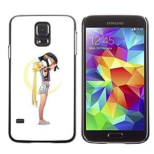 Smartphone duro funda protectora para Samsung Galaxy S5/funda TECELL tienda/gato y chica