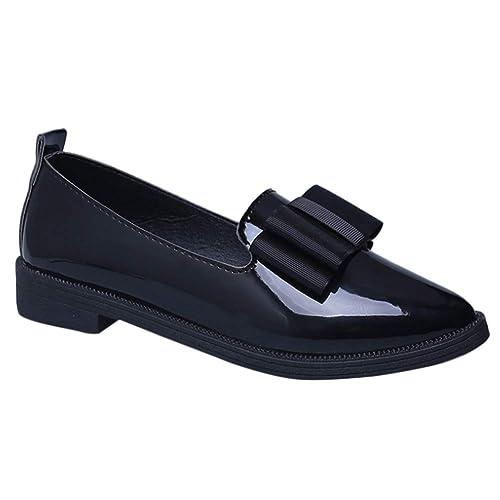 Yudesun Zapatos Moda Mujer Mocasines - Retro Puntiagudos Bombas Arcos Cuero Casual Clásico Pisos Burdeos Plataforma Zapatos: Amazon.es: Zapatos y ...