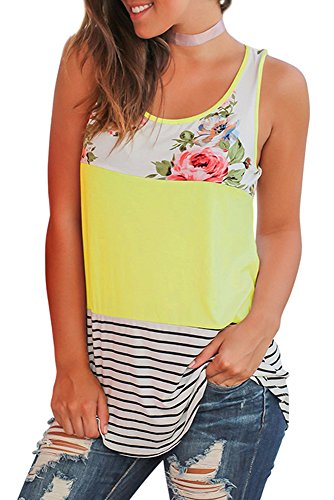Womens Tops Sleeveless Round Neck Stripe T-Shirts Casual Tank Tops Yellow M