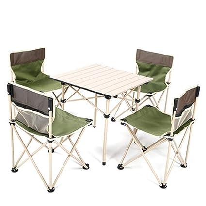 Bseack_Store Wall Table Mesa y Silla Plegables portátiles al Aire Libre Traje de Cinco Piezas Barbacoa