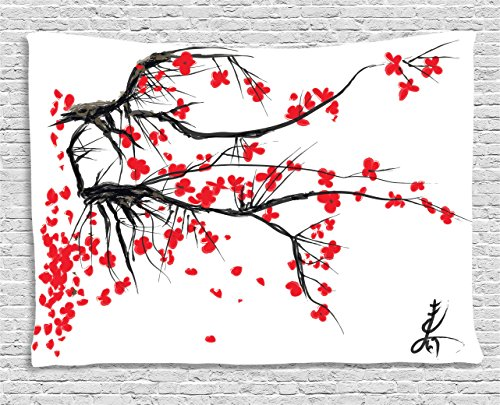 House Decor Tapestry by Ambesonne, Sakura Blossom