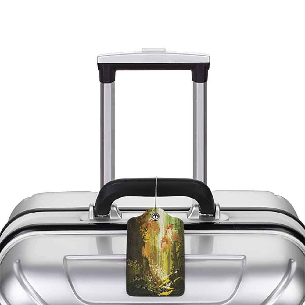 Flexible luggage tag Fantasy Decor Forest with Waterfall Vivid Autumn Season Nature Inspired Digital Painting Print Fashion match Multi W2.7 x L4.6