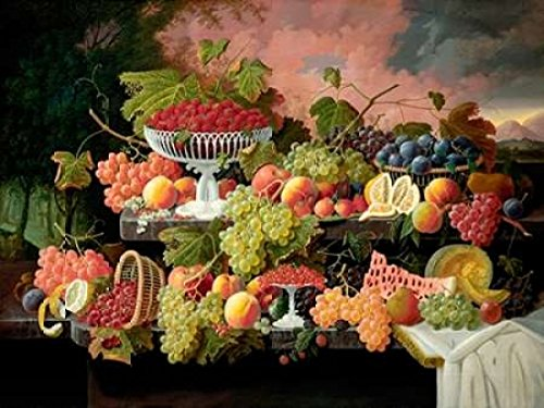 Two-Tiered Still Life with Fruit and Sunset Landscape Poster Print by Severin Roesen (22 x 28)