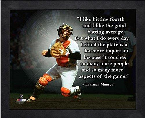 Thurman Munson NY Yankees ProQuotes Photo Framed Size: 9 x 11