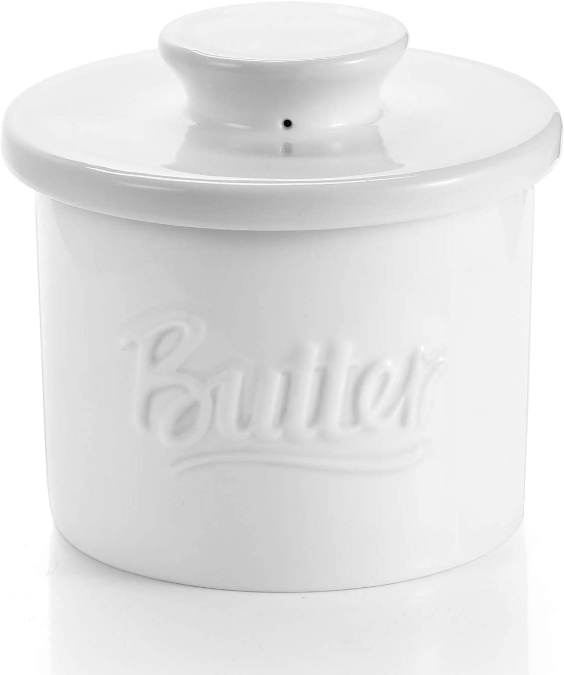 Sweese 322.101 Porcelain Butter Crock Keeper - French Butter Dish with Lid - Butter Relief, White