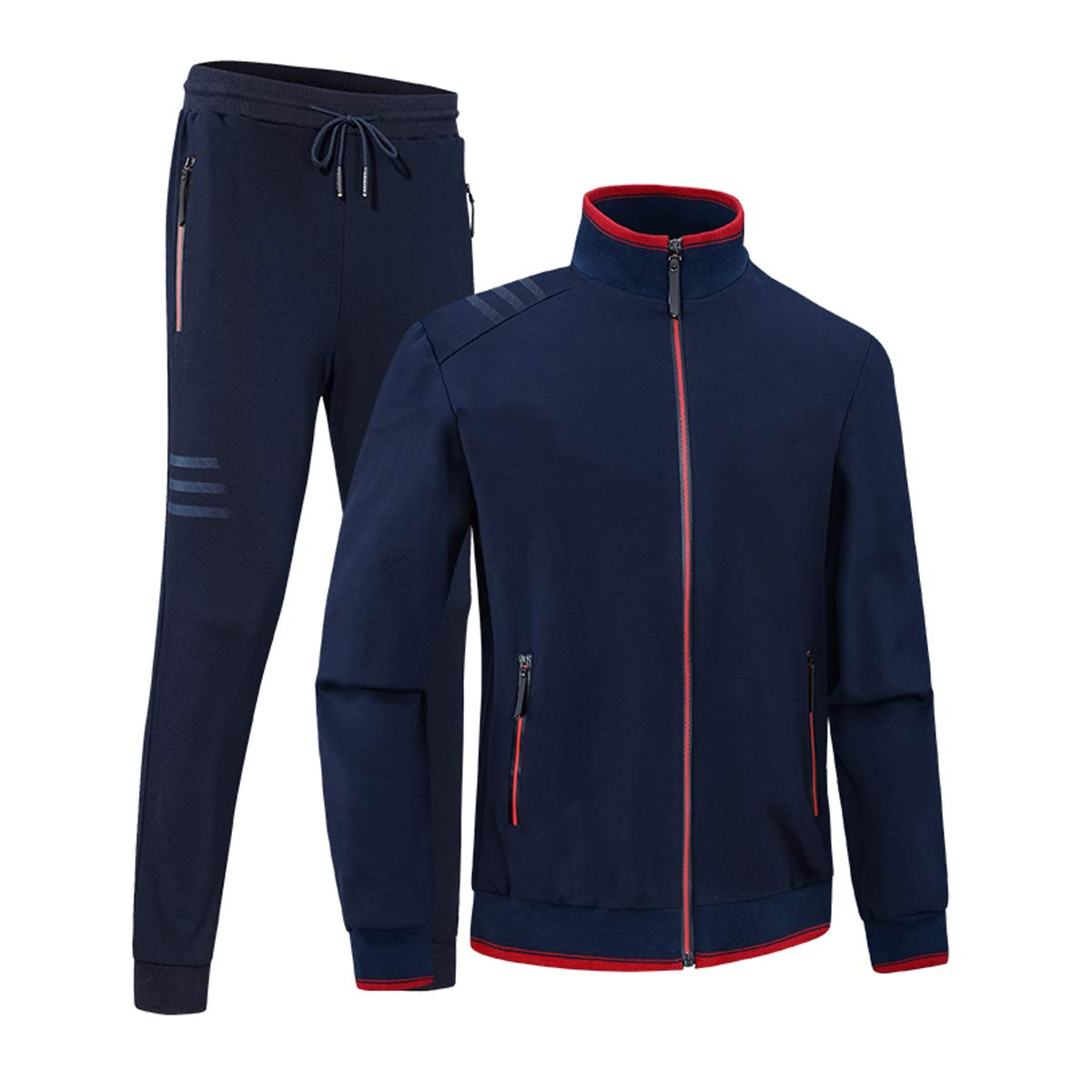 INVACHI Men's Casual 2 Pieces Contrast Cord Full Zip Sports Sets Jacket & Pants Active Fitness Tracksuit Set Navy by INVACHI