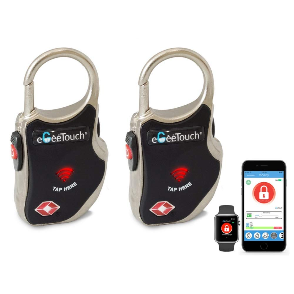 eGeeTouch Smart TSA Luggage Lock with Patented Dual Access Tech, NFC + Bluetooth, Vicinity Tracking (Black 2 Pack) by eGeeTouch