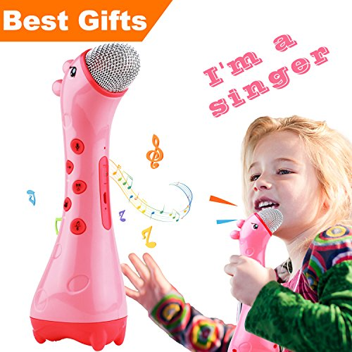 NeWisdom Best gifts for 4-6 year old girls, Kids Microphone Toy Magic Voice Changer Karaoke Machine for girl With Happy Birthday music, for 3 4 5 6 year old girls - Pink -