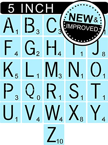 Scrabble Style Letter Stencils for Painting Signs & Tiles, 5 inch, Reusable & Thick by Star