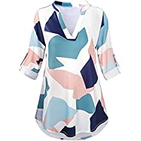 Maonet Women Roll up Sleeves Casual Printed Loose Tunic Tops T-Shirt Blouse