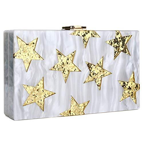 IBELLA Evening Handbag Box Acrylic Clutch Stripes Shoulder Bag for Party