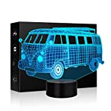 room decor ideas 3D Buses Shape Lamp Optical Illusion Night Light for Room Decor Baby Nursery Cool Gifts for Kids Boys Sports Guy 7 Color Changing Toys