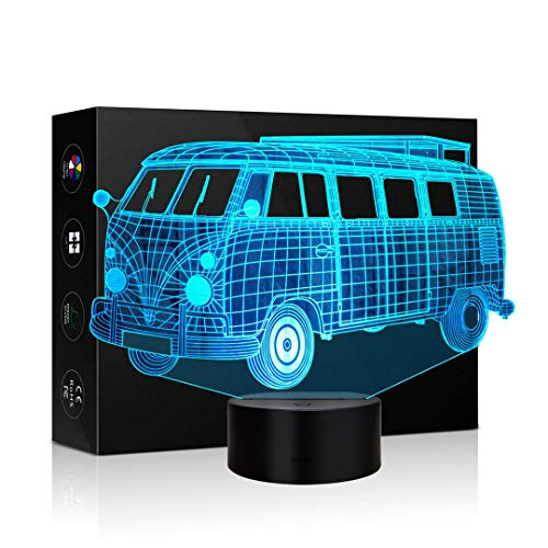 3D Buses Shape Lamp Optical Illusion Night Light for Room Decor Baby Nursery Cool Gifts for Kids Boys Sports Guy 7 Color Changing Toys -