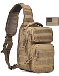Tactical Sling Bag Military Single Shoulder Backpack Pack Small Range Bags w/ US Flag Patch Tan