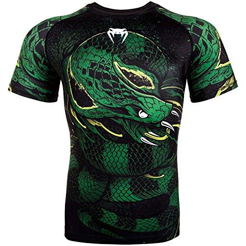 Venum Men's Green Viper Short Sleeve Rash Guard MMA BJJ Black/Green Large