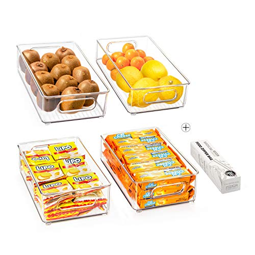 Stackable Refrigerator Organizer Bins, 4 Pack Clear Kitchen Organizer Container Bins with Handles and 20 PCS Free…