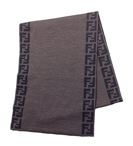 Fendi Knit Monogram Wool Scarf Zucca Stripe, Tortora by Fendi
