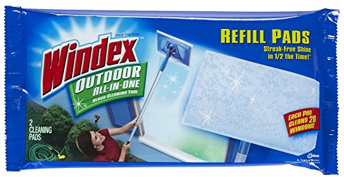 Windex Outdoor All-In-One Window Cleaner Pads Refill, 2 Count (Pack of 1)