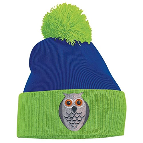 Pom Pom Beanie - Owl Face - Lime Green and Royal Blue