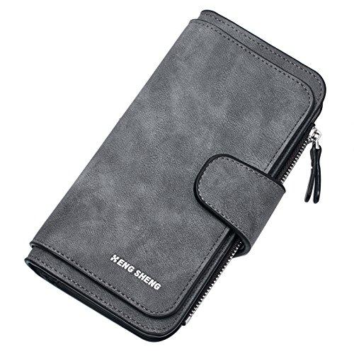Belsmi RFID Blocking Women Long Leather Wallet Clutch Zipper Card Holder Organizer Bifold Wallets (Deep Grey)