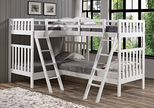 - Bolton Furniture Aurora Twin Over Twin Bunk Bed with Quad Bunk Extension, White