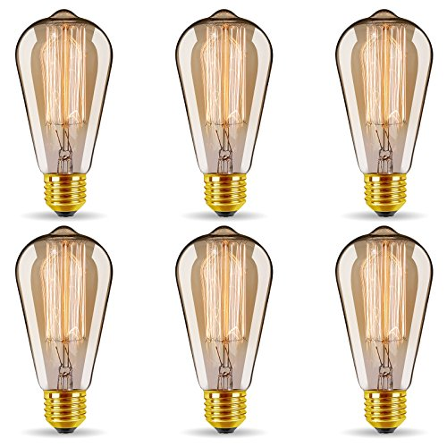 ST64 Vintage Edison Light Bulbs Dimmable 60W/110V E26/E27 Base Replacement Bulbs for Wall Sconces Lights, Pendant Light, Amber Warm & Squirrel Cage Filament Antique Light Bulb for Home Decor (6 ()