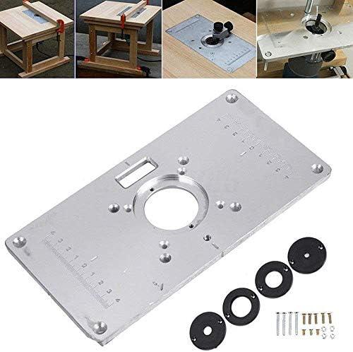SODIAL Fr?ser Tisch Platte 700C Aluminium Fr?ser Tisch Platte + 4 Ring Schrauben Für Holzb?nke, 235 Mm X 120 Mm X 8 Mm (9,3 Zoll X 4,7 Zoll X 0,3 Zoll)
