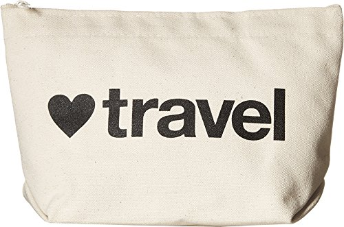 Dogeared Women's <3 Travel Lil Zip Black/Canvas One Size - Lil Zip Bag