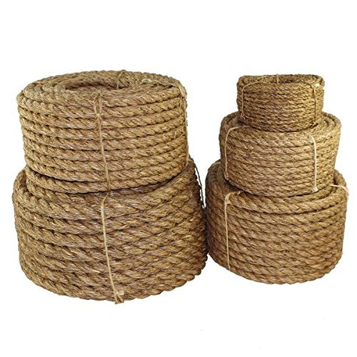 Twisted Manila Rope Hemp Rope (1/4 in x 50 ft) - SGT KNOTS - Tan Brown Natural Rope - Thick Heavy Duty Rustic Outdoor Cordage for Craft, Dock, Decorative Landscaping, Climbing, Tree Hanging Swing