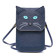 Universal Multipurpose Cute 3D Navy Blue Cat Design Synthetic Leather Wallet Crossbody Cell Phone Bag Mini Pouch for iPhone 6/6S,6Plus/6S Plus,Note 5,Note 4,Galaxy S7,S7 Edge