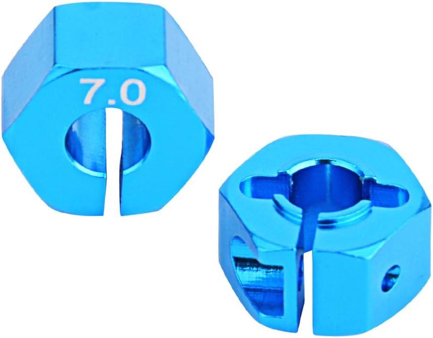 Drfeify Adaptador Hexagonal de Coche RC, 4 Piezas de 12 mm de Aluminio 7.0 Adaptador de Unidad Hexagonal de Rueda con Pasadores y Tornillos para Coche RC