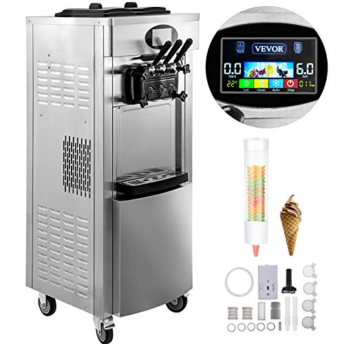 VEVOR 2200W Commercial Soft Ice Cream Machine 3 Flavors 5.3-7.4Gallons/H Pre-Cooling at Night Auto Clean LED Panel Perfect for Restaurants Snack Bar supermarkets ()