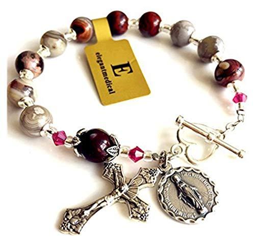 elegantmedical Bracelet ONE Decade Box Cross Sterling Silver Flower Bead Cap Travel Rosary Catholic