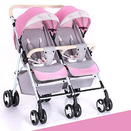 RUMIAO Newborn Double Baby Carriage, Tandem Pushchair,Twins High Landscape Baby Strollers,Pink