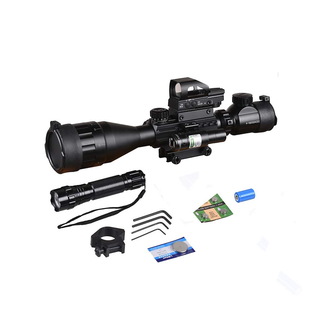 Rifle Scope Combo C4-16x50EG with Green Laser / 4 Holographic Red&Green Dot Sight by XopingABC