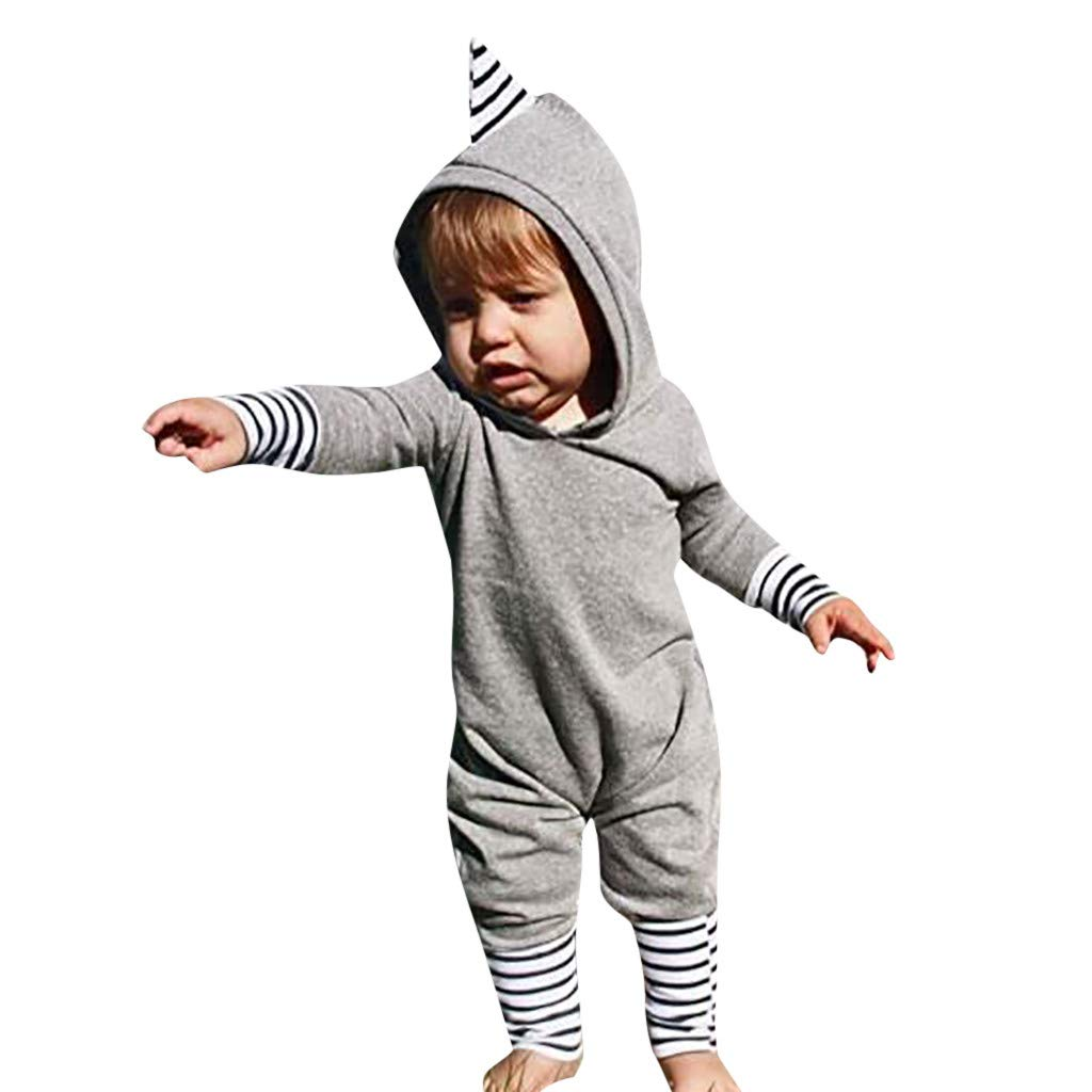 32b36555c7a4 Amazon.com  Drindf Boys Clothing Infant Newborn Baby Boy Girl Dinosaur Long  Sleeve Hooded Striped Romper Jumpsuit Clothes  Clothing