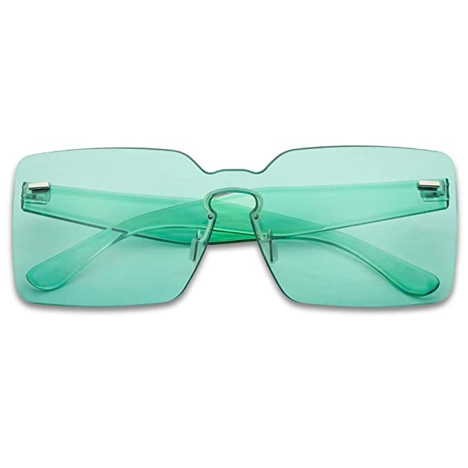 61b1aaab71 Colorful Bold Oversize One Piece Mono Block Full Shield Rimless Color  Sunglasses (Aqua Green