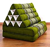 Asia Wohnstudio 2 Fold With Extra Large Triangle Cushion, 100% Natural Kapok Filling,Thai Xxl Jumbo Thai Pillow, Headrest (Thai Cushion Seat Folds) Folds