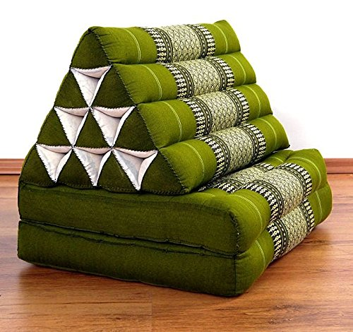 Asia Wohnstudio 2 Fold With Extra Large Triangle Cushion, 100% Natural Kapok Filling,Thai Xxl Jumbo Thai Pillow, Headrest (Thai Cushion Seat Folds) Folds by Asia Wohnstudio