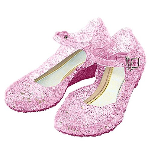 [Girls Princess Elsa Shoes For Halloween Costumes (Pink) Kids Size 11.5] (Costumes Shoes For Kids)