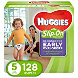 HUGGIES Little Movers Slip On Diaper Pants, Size 5, 128 Count, ECONOMY PLUS (Packaging May Vary): more info