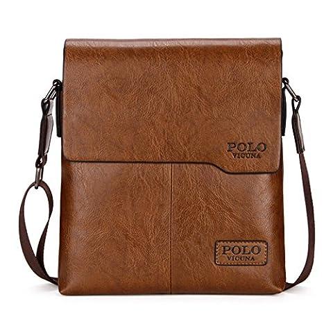 VICUNA POLO Shoulder Bag Business Man Bag Messenger Bag for Men Crossbody Bag(khaki)
